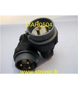 FICHE MALE METAL DROIT 54226 2P +T 10/15A